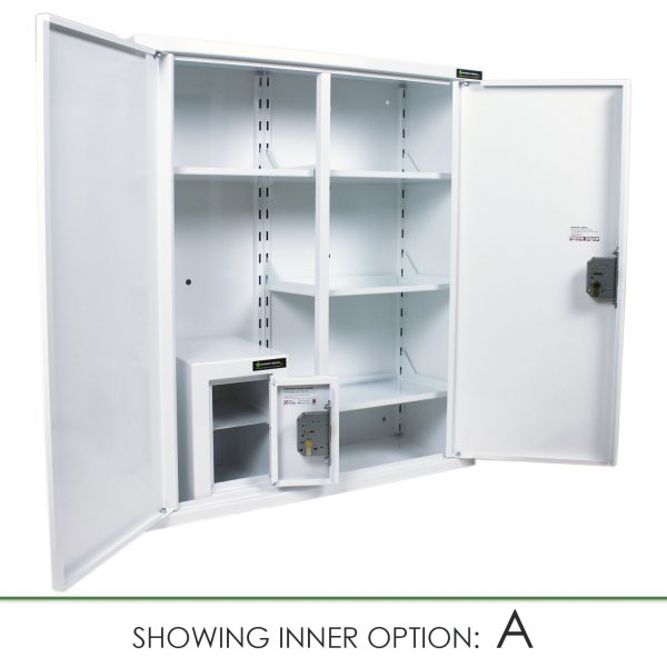 CMED402 medicine cabinet with internal controlled drugs cabinet option A
