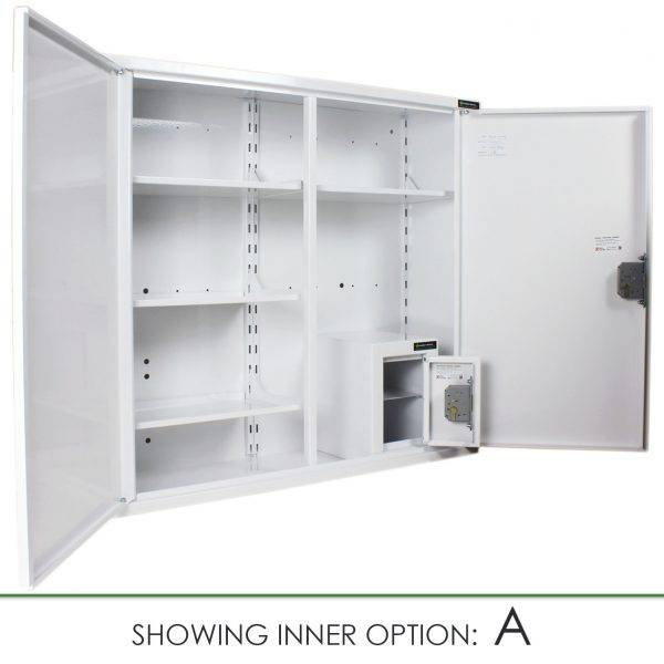 CMED404 medicine cabinet with internal controlled drugs cabinet option A