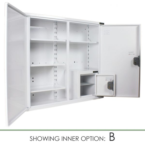 CMED404 medicine cabinet with internal controlled drugs cabinet option B