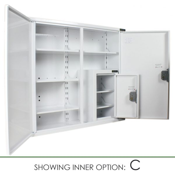 CMED404 medicine cabinet with internal controlled drugs cabinet option C