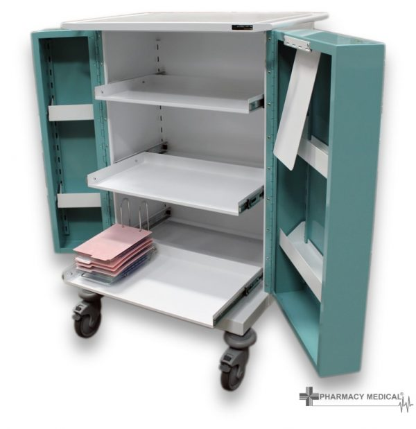 PM230 Medicine Drugs Trolley with slide out shelves.