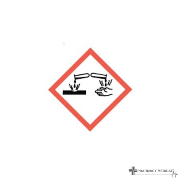 caustic substance CoSHH cabinet warning label