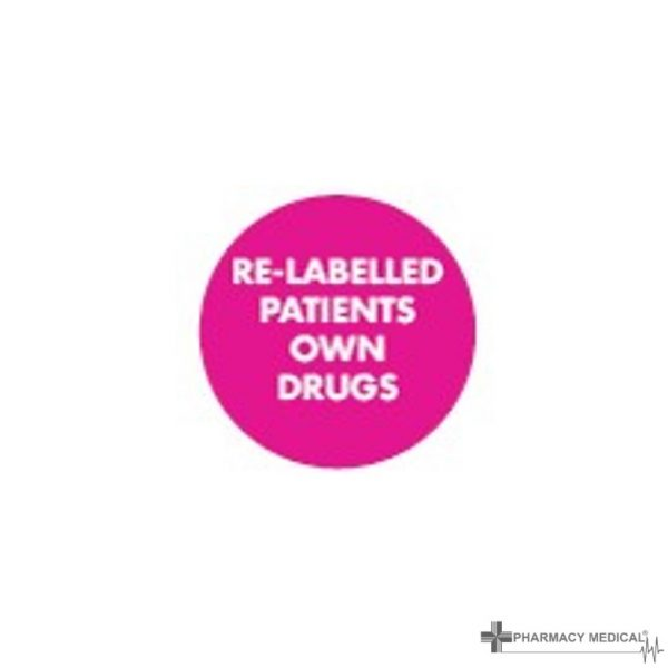 re-labelled patients own drugs prescription alert stickers