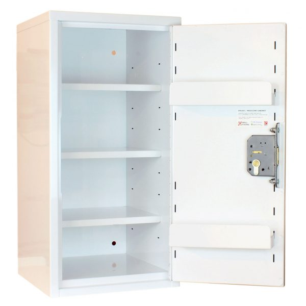 Medicine cabinets with door shelves